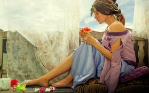 Картинка цветок, небо, девушка, украшения, цветы, поза, стиль, милая, ноги, одежда, роза, обработка, руки, окно, прическа, …