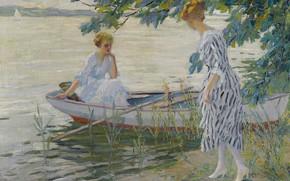 Картинка девушки, лодка, картина, Эдуард Какуел, Edward Cucuel, На Берегу