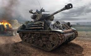 Обои Шерман, Ярость, фильм, американская военная драма, немецкий тяжёлый танк, Fury, Тигр, основной американский средний танк, ...