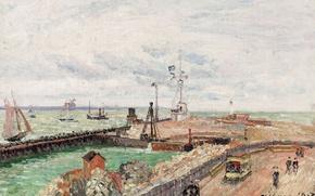 Картинка море, город, картина, Камиль Писсарро, Пирс и Семафор Гавра