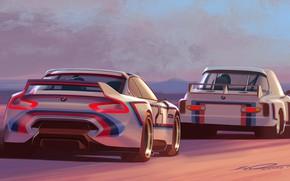 Картинка Concept, Авто, Рисунок, Машина, БМВ, Машины, Две, Арт, Hommage, Bavarian, BMW 3.0 CSL, Hommage R, …