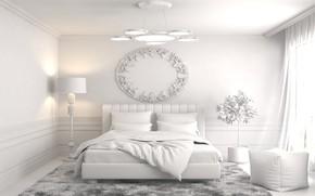 Картинка дизайн, кровать, интерьер, люстра, спальня