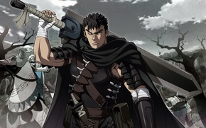 Картинка sword, armor, anime, man, ken, blade, Berserk, manga, japanese, Guts
