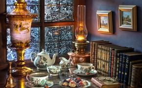 Обои картины, очки, лампа, чаепитие, печенье, окно, чай, книги, сервиз, стиль