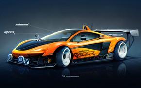 Обои McLaren, Авто, Рисунок, Машина, Оранжевый, Фон, Car, Автомобиль, Арт, Art, Sports, Рендеринг, Yasid Design, 570S, ...