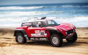 Картинка Песок, Море, Пляж, Mini, Спорт, Скорость, Rally, Dakar, Дакар, Ралли, Buggy, Багги, X-Raid Team, 305, …
