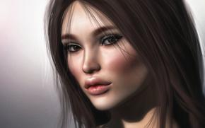 Картинка глаза, взгляд, лицо, фон, волосы, губы, милашка
