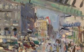 Картинка картина, городской пейзаж, Константин Коровин, Вокзал Сен-Лазар