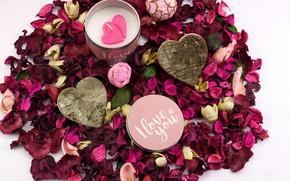 Обои любовь, день святого Валентина, лепестки роз, праздник, свеча, сердечки