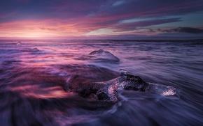 Картинка лед, море, небо, облака, выдержка, Исландия