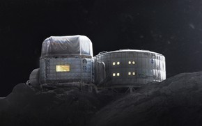 Картинка холмы, звёзды, станция, база, Twardowskys Moon habitat back