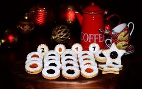 Картинка шары, кофе, печенье, Новый год, Christmas, выпечка, background, джем, сладкое, New Year, cookie, baking, 2017