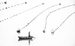Обои лодка, озеро, человек, сети
