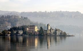 Картинка озеро, остров, дома, Италия, дымка, Орта-Сан-Джулио, Орта