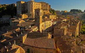Картинка крыша, башня, дома, Италия, Тоскана, Сорано