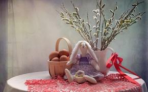 Картинка игрушка, заяц, яйца, верба, Вербное воскресенье