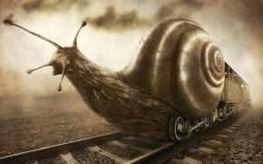 Картинка фантазия, поезд, улитка, юмор, арт, ж-д