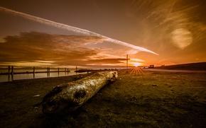 Картинка закат, берег, бревно