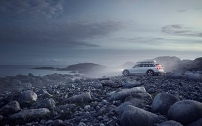 Картинка туман, камни, побережье, Cross Country, Volvo V90