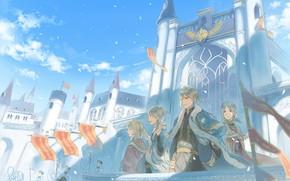 Картинка девушки, аниме, арт, парни, братья, королевство, Akagami no Shirayukihime, Красноволосая Белоснежка