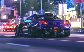 Обои virtual tuning, GT-R, Nissan, ночь, улица, огни, Skyline, Khyzyl Saleem