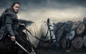 Картинка rawhide armor, shield, long hair, blade, prince, Ragnar, man, warrior, viking, war, armor, Alexander Dreymon, ...