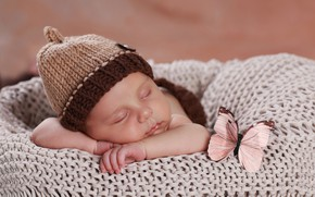 Картинка бабочка, сон, спит, девочка, плед, шапочка