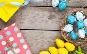 Картинка Пасха, тюльпаны, flowers, tulips, spring, Easter, eggs
