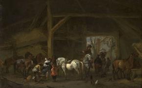 Картинка животные, дерево, масло, картина, Филипс Вауэрман, Лошади в Конюшне