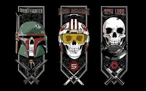 Картинка Star Wars, skull, gun, Darth Vader, sith lord, weapon, rifle, revolver, bones, pilot, sith, helmet, …