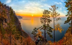 Картинка осень, деревья, закат, скала, озеро, вид, Россия, Озеро Байкал, Сибирь, Фёдор Лашков