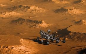 Обои Curiosity, Кьюриосити, Марс, поверхность, марсоход