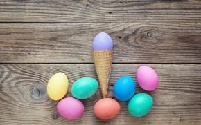 Картинка весна, Пасха, рожок, wood, spring, Easter, eggs, decoration, Happy, яйца крашеные
