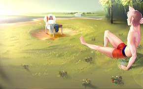 Картинка арт, стул, парень, загорает, Everlasting Summer