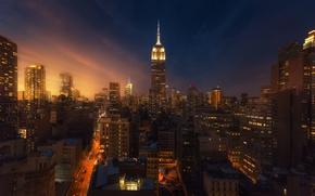Обои ночь, город, огни, дома, вечер, Нью Йорк
