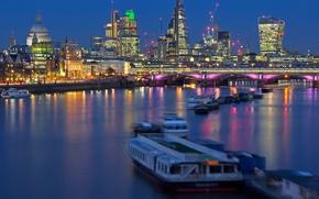 Картинка ночь, мост, огни, река, Англия, Лондон, собор