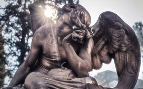Картинка солнце, ангел, скульптура, мрамор