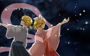 Картинка ночь, аниме, арт, двое, Vocaloid, Вокалоид, персонажи