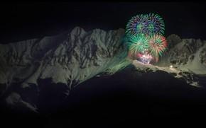 Картинка горы, салют, Австрия, Новый Год, Альпы, фейерверк, Иннталькетте