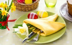 Картинка тарелка, Пасха, нож, вилка, салфетка, нарцисс, сервировка