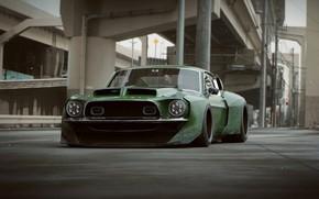 Картинка асфальт, эстакада, автомобиль, front, L.T.O GT500