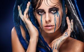 Картинка blue, drag, tears, look, Makeup