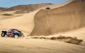 Картинка Песок, Mini, Спорт, Пустыня, Скорость, Холмы, Rally, Dakar, Дакар, Ралли, Дюна, Buggy, Багги, X-Raid Team, …