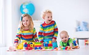 Картинка дети, игра, colorful, конструктор, toy, blocks, playing, Kids