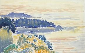 Картинка рисунок, акварель, Henri Edmond Cross, Анри Кросс, Средиземноморский Пейзаж