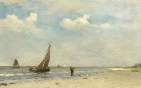 Картинка пейзаж, дерево, лодка, масло, Пляж, картина, парус, Иохан Хендрик Вейсенбрух