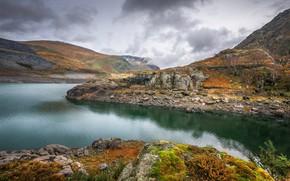 Картинка осень, озеро, Уэльс, Сноудония, Ллин Перис