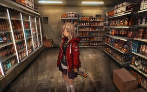 Обои чулки, алкоголь, бутылки, девушка, форма, аниме, lm7, арт, магазин