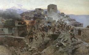 Картинка масло, Холст, 1891, Штурм аула Гимры, Франц РУБО