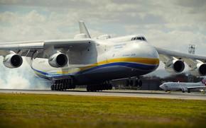 Обои Самолет, Полосы, Крылья, Двигатели, Мечта, Украина, Мрия, Ан-225, Airlines, Советский, Посадка, Грузовой, Ан 225, Антонов, ...